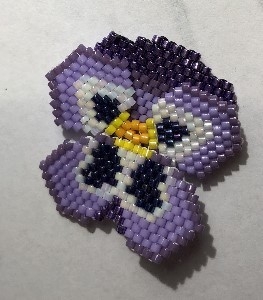 beaded pansy flower