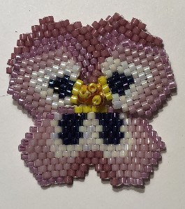 beaded pansy flower with two back petals