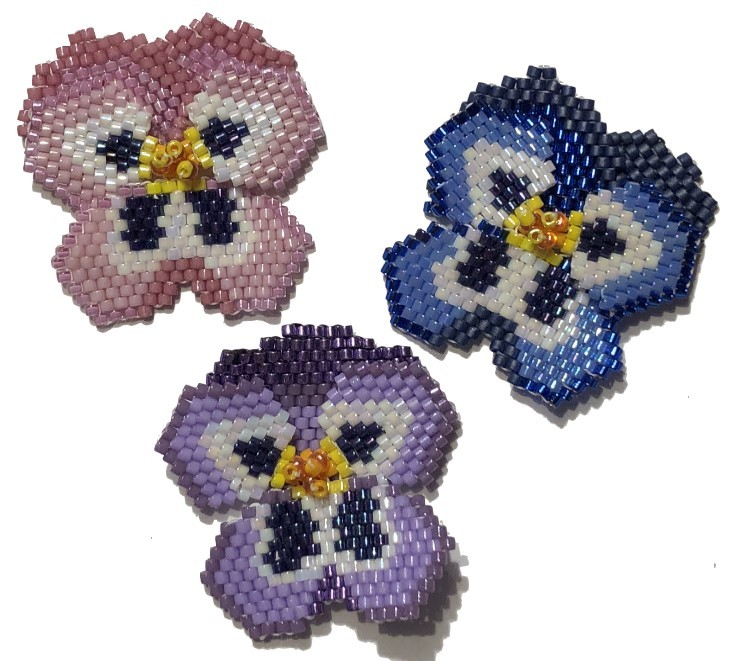 Beaded Pansy Flowers