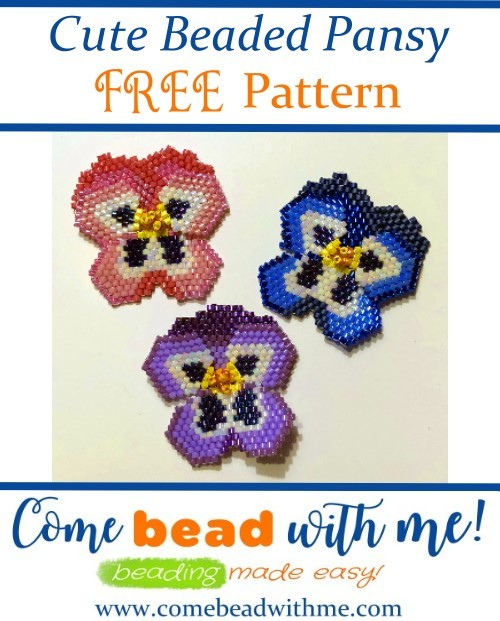 Pansy Beaded Flower Pattern