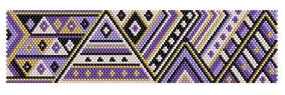 purple geometric peyote bracelet pattern