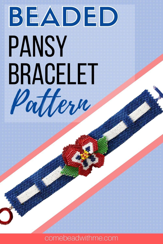 Beaded Pansy Bracelet