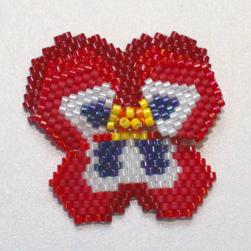 beaded red pansy