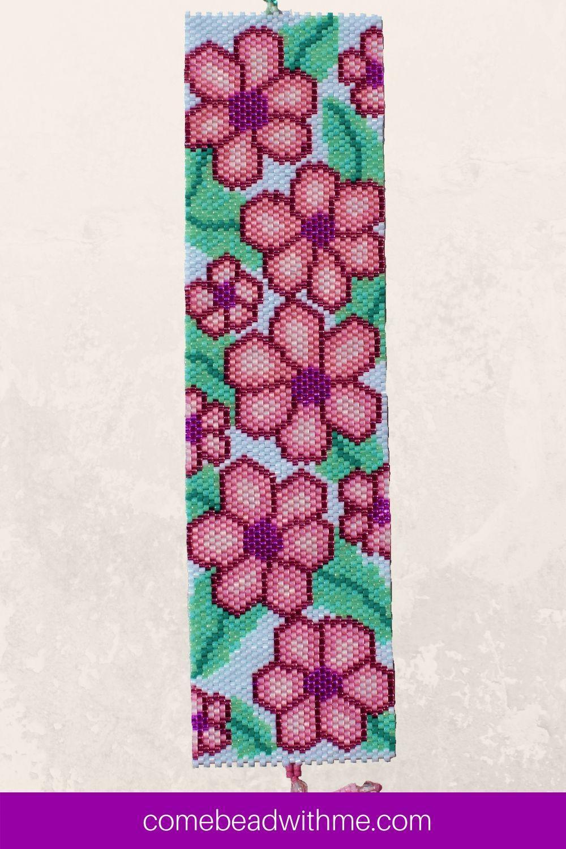 Pink Daisy Peyote Bracelet