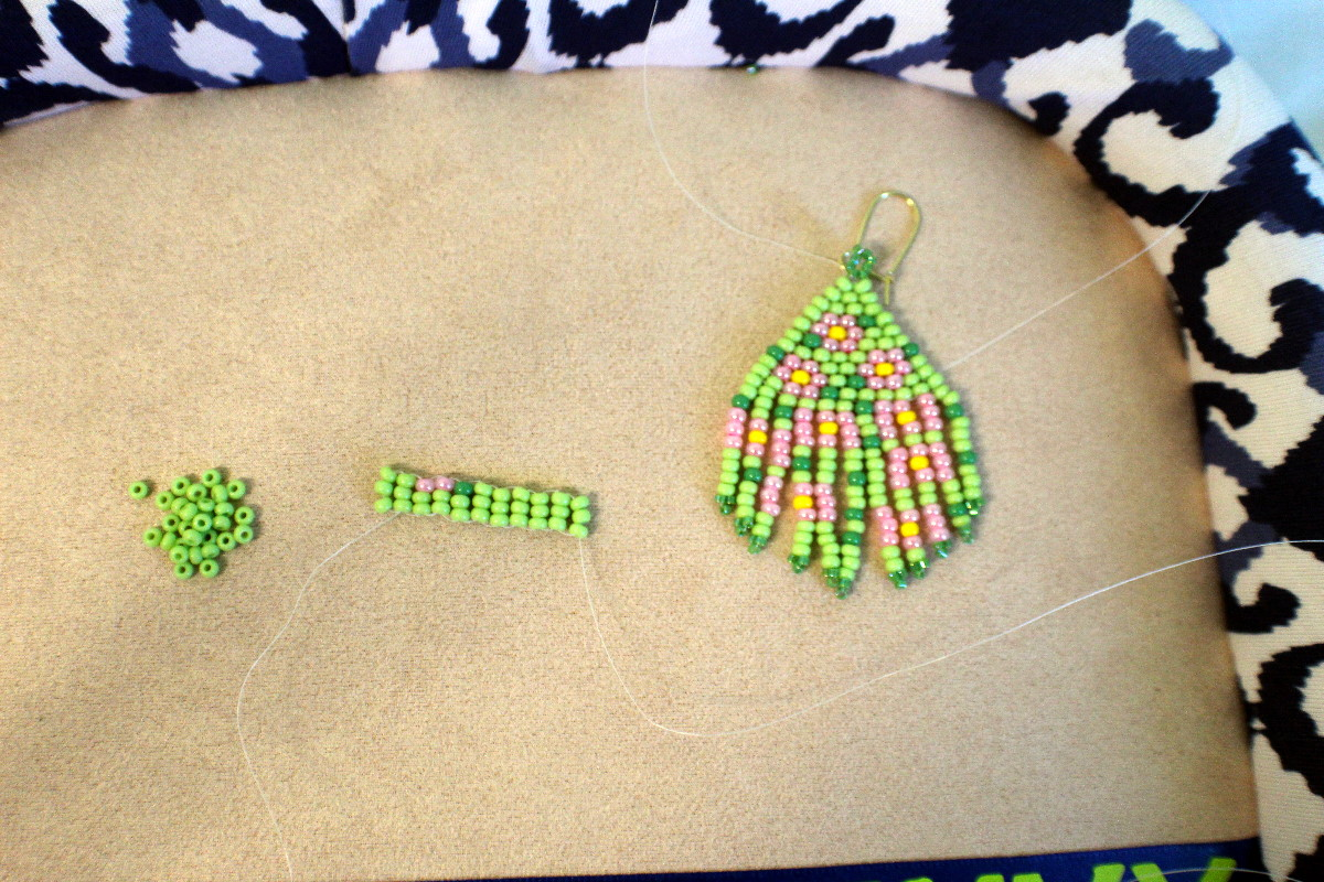 making earrings with ladder stitch