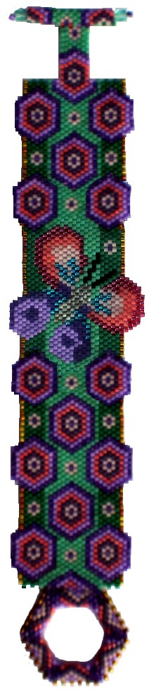 beaded bracelet with butterfly and hexagons