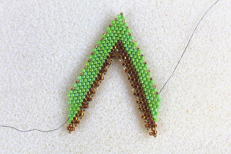beads beaded into a v shape