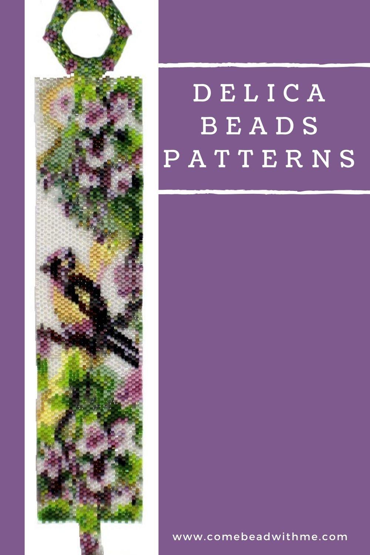 Delica Beads Bracelet Patterns - Bird in the Dogwood